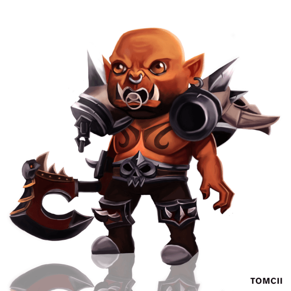 Garrosh Hellscream, Former Leader of the Horde in the video game World of Warcraft! Here in baby form though. This one was fun to paint. This was done for the Max Grecke Discord Art Challenge.