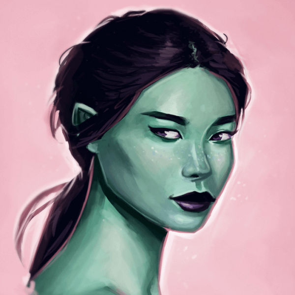 Here is a digital green elf portrait! They are fun to do! I like the way the hue variation in this one turned out.