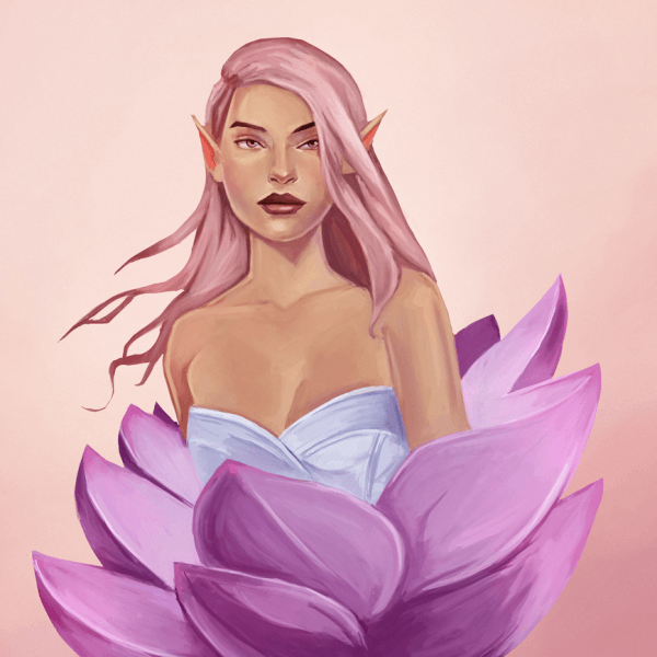 Here's a new painting! It's an art raffle painting I did on twitch.tv/tomcii! The winner of the art-raffle painting wanted to have an Lotus Flower inspired piece, so this is what I painted! The Lotus Flower symbolizes the beauty of women but also rebirth, so this is The Rebirth of The Lotus Flower Woman.