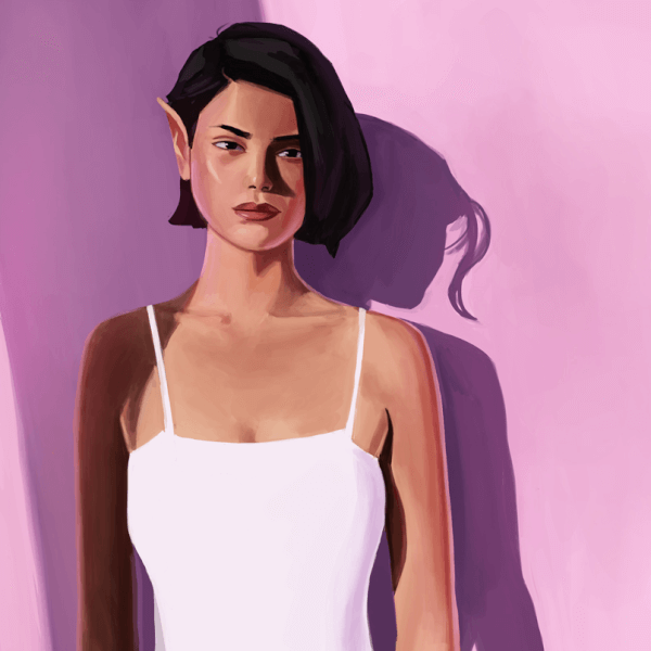 Here is a digital portrait painting of a pink elf lady! This one was done live on Twitch!
