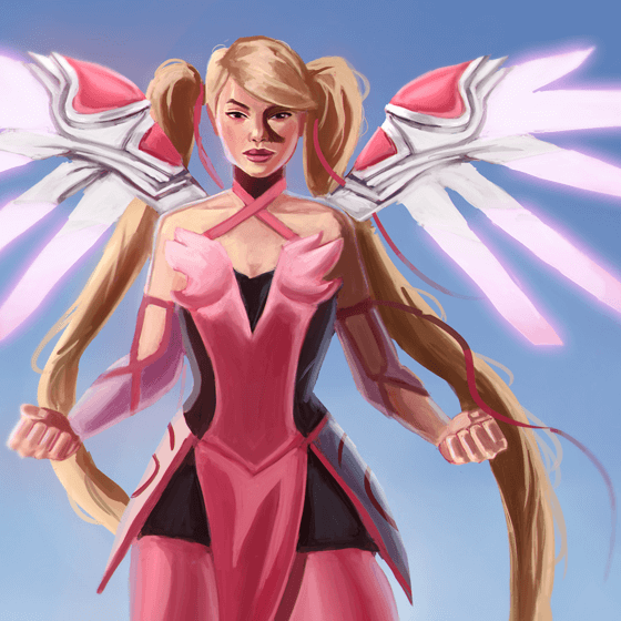 Here is a painting of a character from Overwatch! It's Pink Mercy! The hero named Mercy got a new skin.