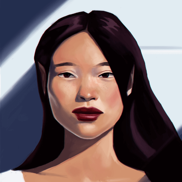 Here is a new portrait painting! I started to like adding strong shadows, so I think I'll add more of those in my artworks!