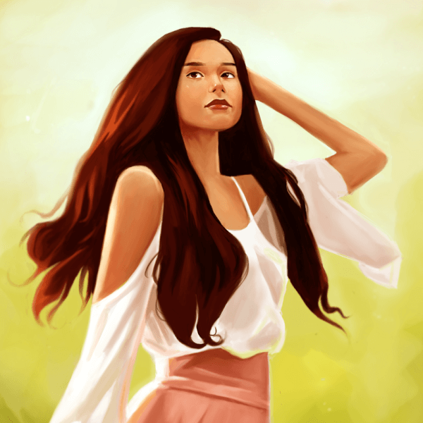 Here's a painting of the streamer Valkyrae!