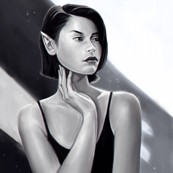 Here is a black and white painting! Practicing values!